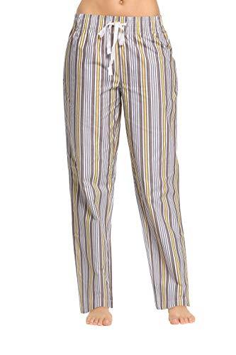 (CYZ Women's 100% Cotton Woven Sleep Pajama Pants-LemongrassStripe-XL)