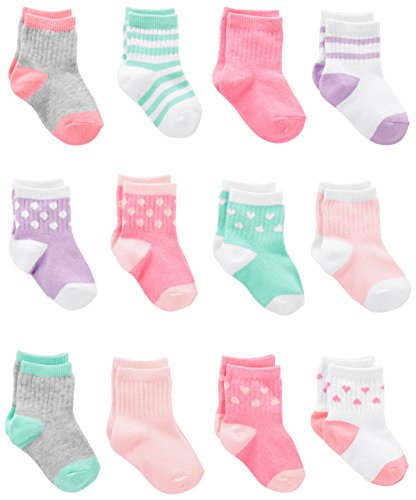 Simple Joys by Carter's Girls' 12-Pack Socks, Pink/Purple/Mint, 0-6 Months