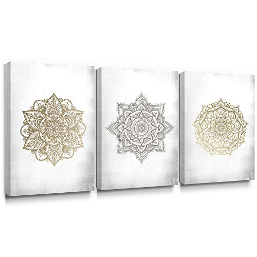 SUMGAR Large Wall Art Living Room Boho Decor 3 Piece Flower Gold Canvas Paintings Silve Floral Pictures Mandala Artwork Prints Yoga Spa Decorations,16x24 inch