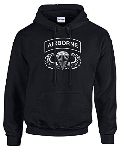 Airborne Hooded Sweatshirt (Pro Art Shirts Men's Airborne Hoodie Large Black)