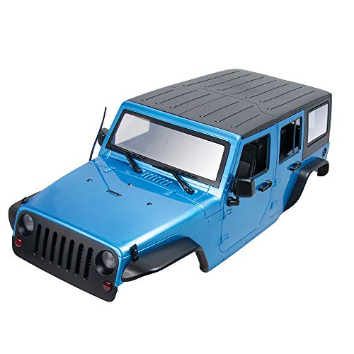 313mm Wheelbase Hard Plastic Car Shell Body Kit for 1/10 RC Wrangler Jeep Axial TRX4 SCX10 Crawler Car, Black (Blue)