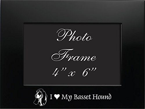 4x6 Brushed Metal Picture Frame-I love my Basset Hound-Black ()