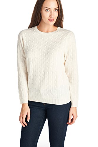 High Style Women's 100% Cashmere Cable Knit Crew Neck Sweater (T618R, Cream, - Cashmere Cable 100%