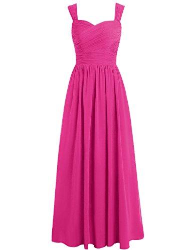 Dresses Long Evening Cdress Bridesmaid Fuchsia Sweetheart Straps Prom Dress Formal Chiffon Gowns pUfZ7