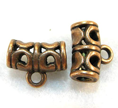(10Pcs. Tibetan Antique Copper BAILS Detailed Pendant Charm Connectors BA86 Crafting Key Chain Bracelet Necklace Jewelry Accessories)