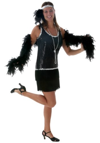 Black Sequin & Fringe Plus Size Flapper 3X