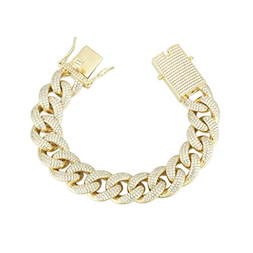 (GOLD IDEA JEWELRY 14k Gold Finish 18mm Iced Out CZ Lab Diamond Hip Hop Miami Cuban Link Bracelet for Men 8.5
