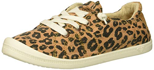 (Roxy Girls' RG Bayshore Slip On Sneaker Shoe Cheetah Print, 3 M US Little Kid)