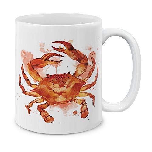 MUGBREW Orange Crab White Ceramic Coffee Mug Tea Cup, 11 OZ