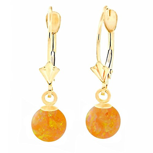 Trustmark 14K Yellow Gold 6mm Citrine Yellow Synthetic Opal Ball Leverback Drop Earrings