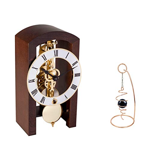 Qwirly 2-Item Bundle: Patterson Skeleton Mechanical Wooden Table Clock by Hermle 23015030721 and Desktop Glass Ball Spinner - Room Accessories Set for Boss, Partner or Friend - Walnut Clock Rustic Oak Case