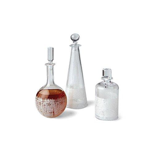 Modern White Grid Design Glass Cylinder Decanter | Lattice Oval Liquor 7.5''