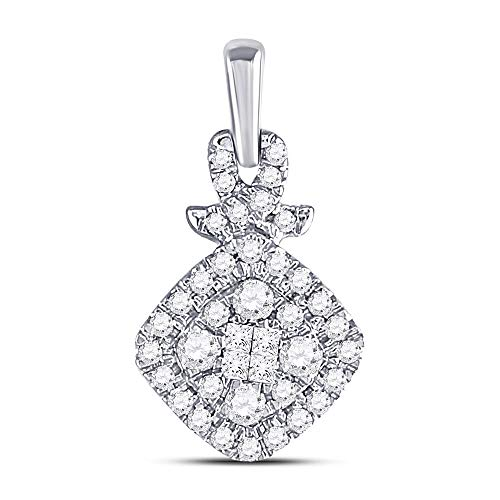 Jewels By Lux 10kt White Gold Womens Princess Round Diamond Soleil Cluster Pendant 3/8 Cttw In Invisible Setting (I1-I2 clarity; G-H color)