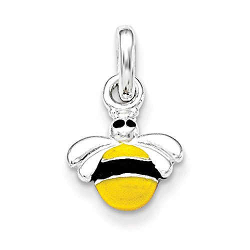 Charms Baby Bee (Sterling Silver Children's Yellow/Black Enameled Bee Pendant)
