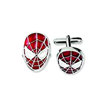 Men's Cufflinks Marvel Comics Classic Spider-man Face Mask Silver Tone Cuff Links