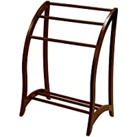 Quilt Racks Free Standing Wood, Contemporary Walnut Rustic Simple Traditional Three Bar Scroll Rack & E-Book