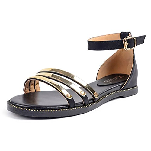 Meeshine Women Casual Gladiator Roman Style Ankle Strap Flat Summer Sandals Shoes (8 B(M) US, (Roman Outfits For Womens)