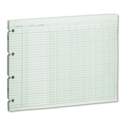 Accounting Sheets, 10 Column, 9-1/4 x 11-7/8, 100 Loose Sheets/Pack, Green, Sold as 2 Package