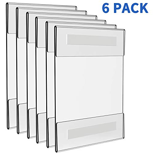 Wall Mount Acrylic Sign Holder 8.5 x 11 inch, Clear Plastic Sign Holder Include 6-Pack Portraits (Wall Mount Acrylic Sign Holder)