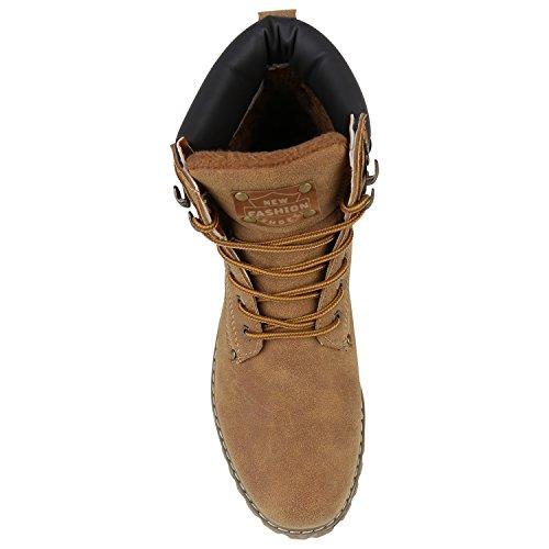 Stiefelparadies Gefütterte Herren Worker Boots Outdoor Schuhe Schnürstiefel Flandell Hellbraun Carlton