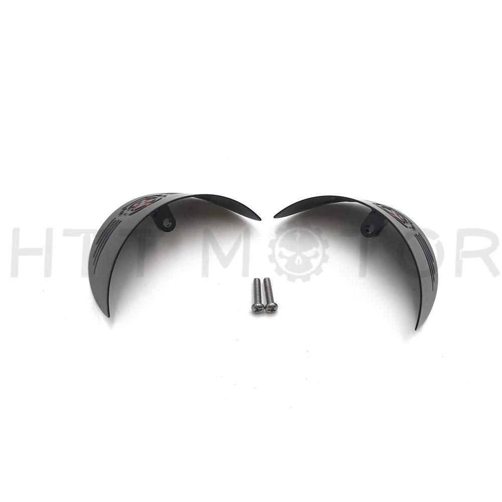 Skull Rear Turn Signal Visors Compatible with Harley 86-90 FLST//94-17 FLHR//86-09 FLHT Black HTTMT MT325-020A