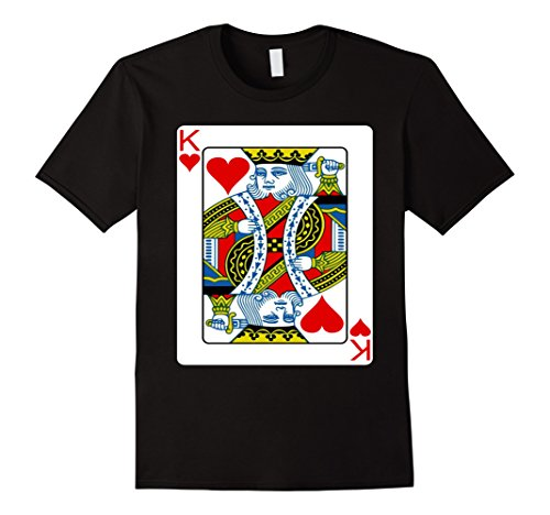 King Costume Playing Card (Mens King of hearts playing card Halloween Group Costume T-shirt XL)