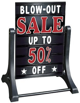 SmartSign Deluxe Swinger Changing Message Sidewalk Sign and Letter Kit - Black | 42