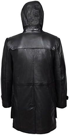 Men's Duffel Coat Black Real Leather Hooded Knee Length Horn Toggle Jacket 8294