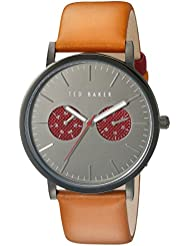 Ted Baker Mens Smart Casual Quartz Stainless Steel and Leather Dress Watch, Color:Brown (Model: 10024783)