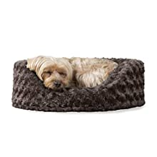 FurHaven Pet Dog Bed | Oval Ultra Plush Pet Bed for Dogs & Cats, Small, Chocolate