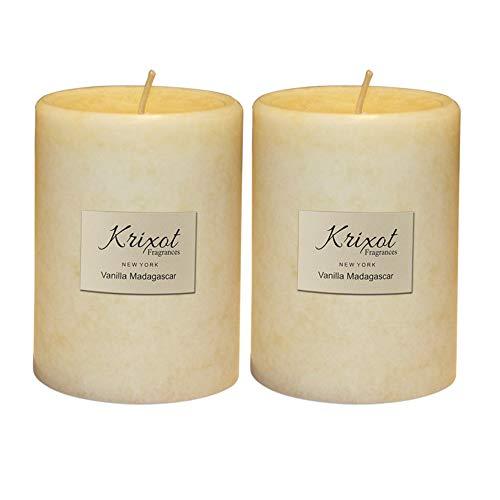 KRIXOT Scented Pillar Candles Set of 2 | Vanilla Madagascar in Mottled Design Finish Size 3