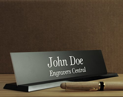 Personalized Office Desk Name Plate - (Over 21 Color Options Available) - on a Beautifully Designed Black Molded Base With Beveled Edges - Customized - 2x10