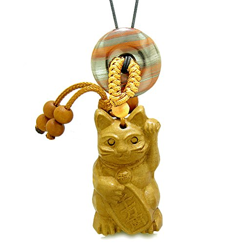 Fortune Cat Lucky Donut - Maneki Neko Fortune Cat Car Charm or Home Decor Dragon Eye Iron Lucky Coin Donut Protection Powers Amulet
