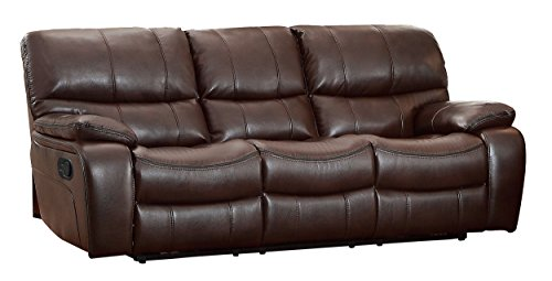 Homelegance Pecos Leather Gel Manual Double Reclining Sofa, Dark Brown