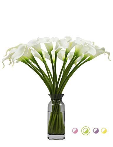 (Artificial Flowers Real Touch Calla Lily Wedding Bouquet 18pcs Home Garden Party Festival Decoration (White))