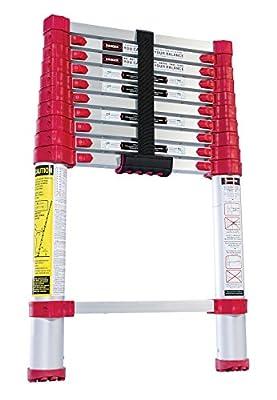 "Vestil TLAD-10 Aluminum Telescopic Ladder, 225 lbs Capacity, Closed 18-1/2"" Width x 29"" Height x 2-3/4"" Depth"