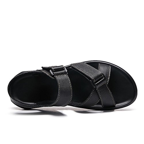 de Genuino Playa Sandalias Vamp Zapatos Criss Cuero Suave de Hombre Negro Cross Suela para Hebilla Correa de AwndZqCd