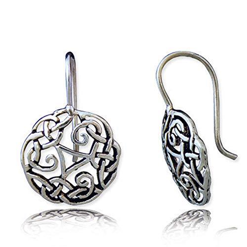 (925 Oxidized Sterling Silver Celtic Knot Symbol Dangle Hook Earrings)
