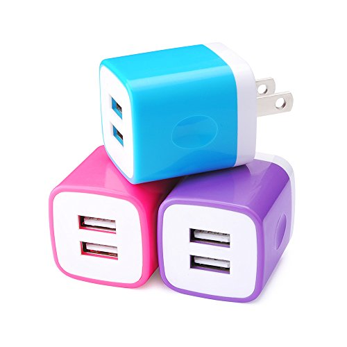 USB Wall Charger, Sicodo 3-Pack 2.1A Travel Dual Port Plug Wall Adapter Compatible with iPhoneX,8 7,7 Plus,6s,Tablet,Samsung Galaxy S10,S10+,S9,S8,S7,Note 8, HTC,LG,Sony,Nokia,Motorola and More