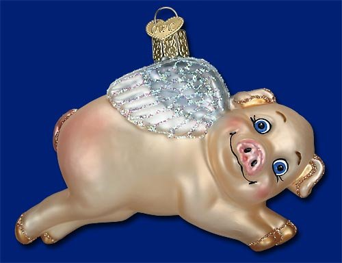FLYING PIG with Wings Ornament Old World Christmas NEW IN BOX