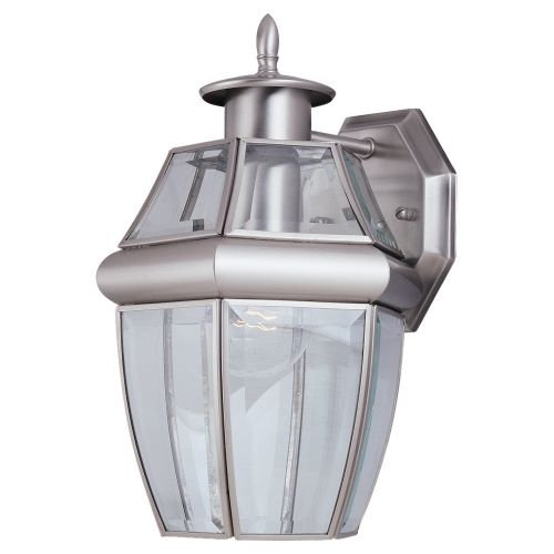 Brushed Nickel 1 Light Outdoor Wall Light Fixture