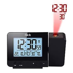IDABAY Reloj Despertador con Proyector, Giratorio Termómetro e Higrómetro Reloj Digital Multifunción con 2 Temporizador de Sueño Adecuado para Sala de ...