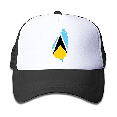 Futong Huaxia Flag Map Of Saint Lucia Boy & Girl Grid Baseball Caps Adjustable sunshade Hat For children