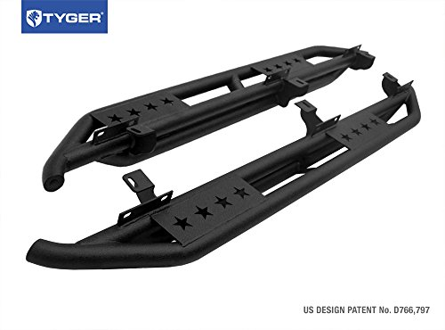 Tyger Auto TG-JA2J2239B Side Step (TYGER Star Armor Kit for 2007-2017 Jeep Wrangler JK 4 Door | Textured Black | | Nerf Bars | Running Boards) (Black Impact Door)