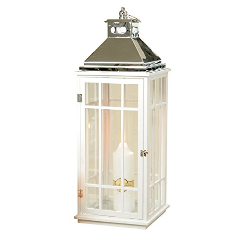 The Urban Garden Tall Hurricane Lantern, Modern Architectural Style, Brilliant Glass, Pine Wood, White, Polished Metal, Over 2 Feet Tall (34 1/4 Inches Tall) By WHW