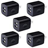 Phone Charger Box, HUHUTA 5 Pack 2.1A Universal USB Wall Charger Plug Cube Power Adapter Compatible iPhone, iPad, Samsung Galaxy S10/S9/Note 9, LG, Pixel, Huawei, Moto, Google, HTC