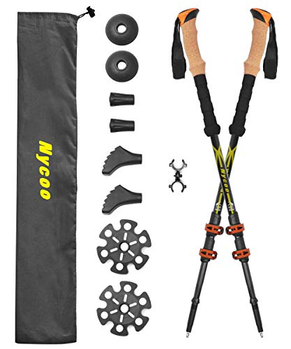 Nycoo 100 Carbon Fiber Hiking Sticks, Adjustable Trekking Poles for Backpacking, Ultralight Antishock Hiking Poles with Cork Grip Quick Locks 4 Baskets Attached Yellow 2 Pack