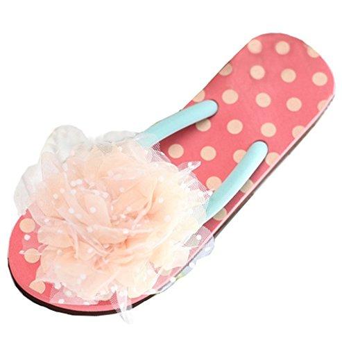 Dayiss Damen Pantoletten Hausschuhe Badeschuhe Strandschuhe Keilabsatz Zehntrenner Sandalen Flip Flops Auslaufrabatt Rot