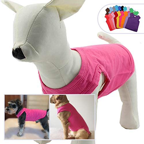 (2018 Pet Clothes Dog Clothing Blank T-Shirt Tanks Top Vests for Small Middle Large Size Dogs 100% Cotton Dog Summer Vest Classic (XS,)