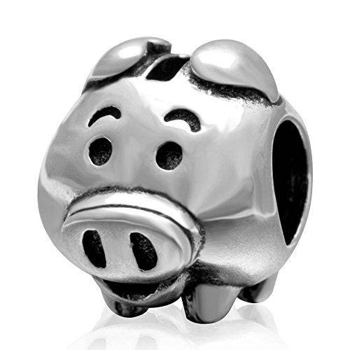 (Choruslove Pig Piggy Bank Charm 925 Sterling Silver Bead for Children Gift fit European Animal)